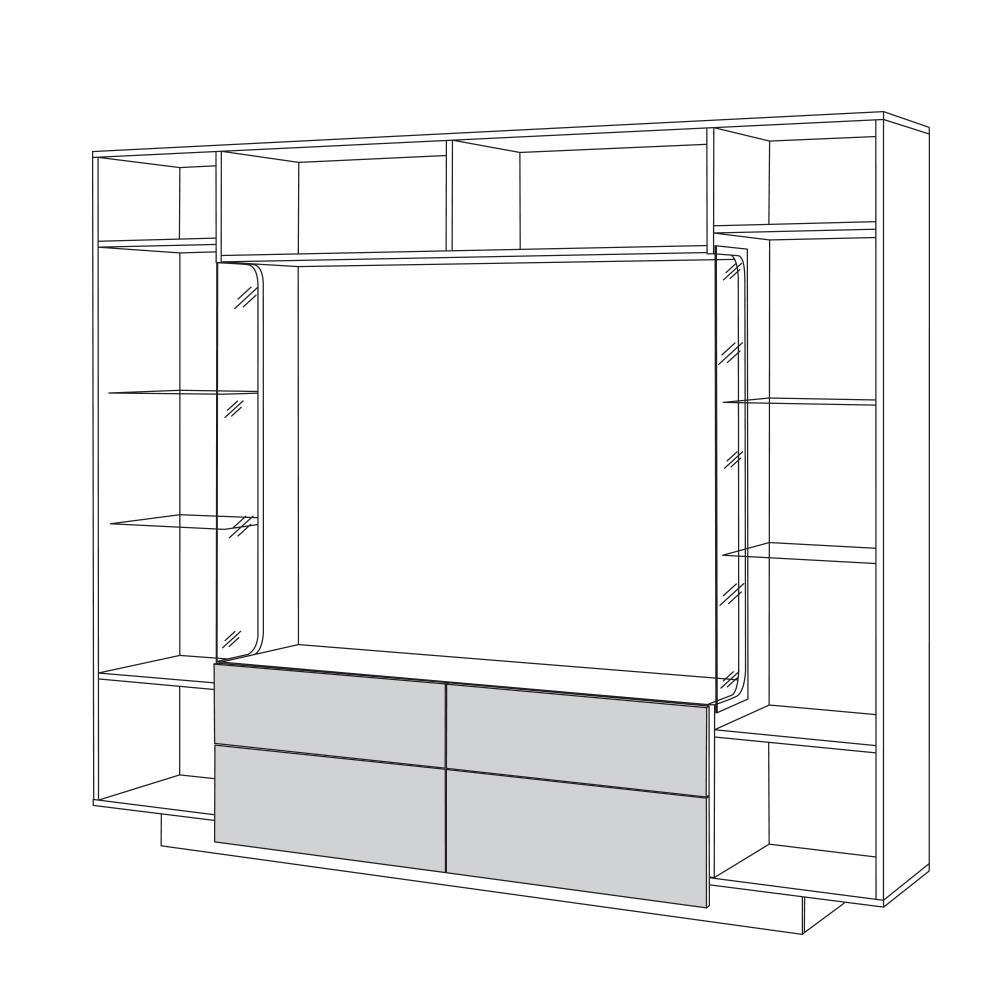 Гостиная РУМБА 2 (Белый/Белый глянец) MOBI