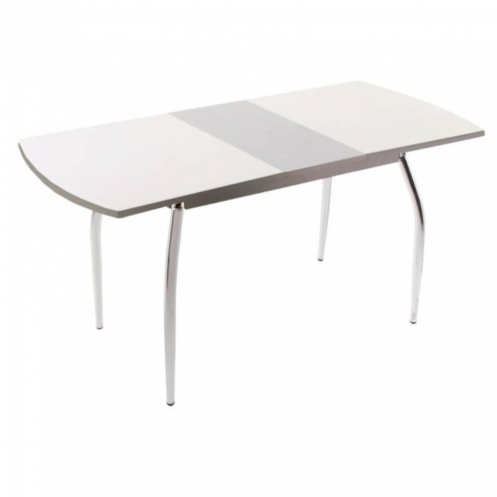 Стол обеденный раздвижной 5.4 белоснежный\серый муар
