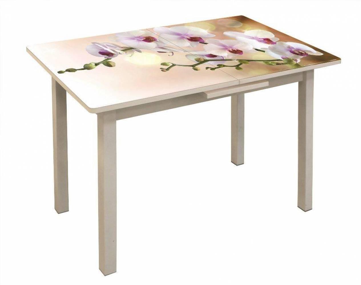 Стол обеденный раздвижной Баунти 2 Орхидея 3 белый/белый муар/50х50