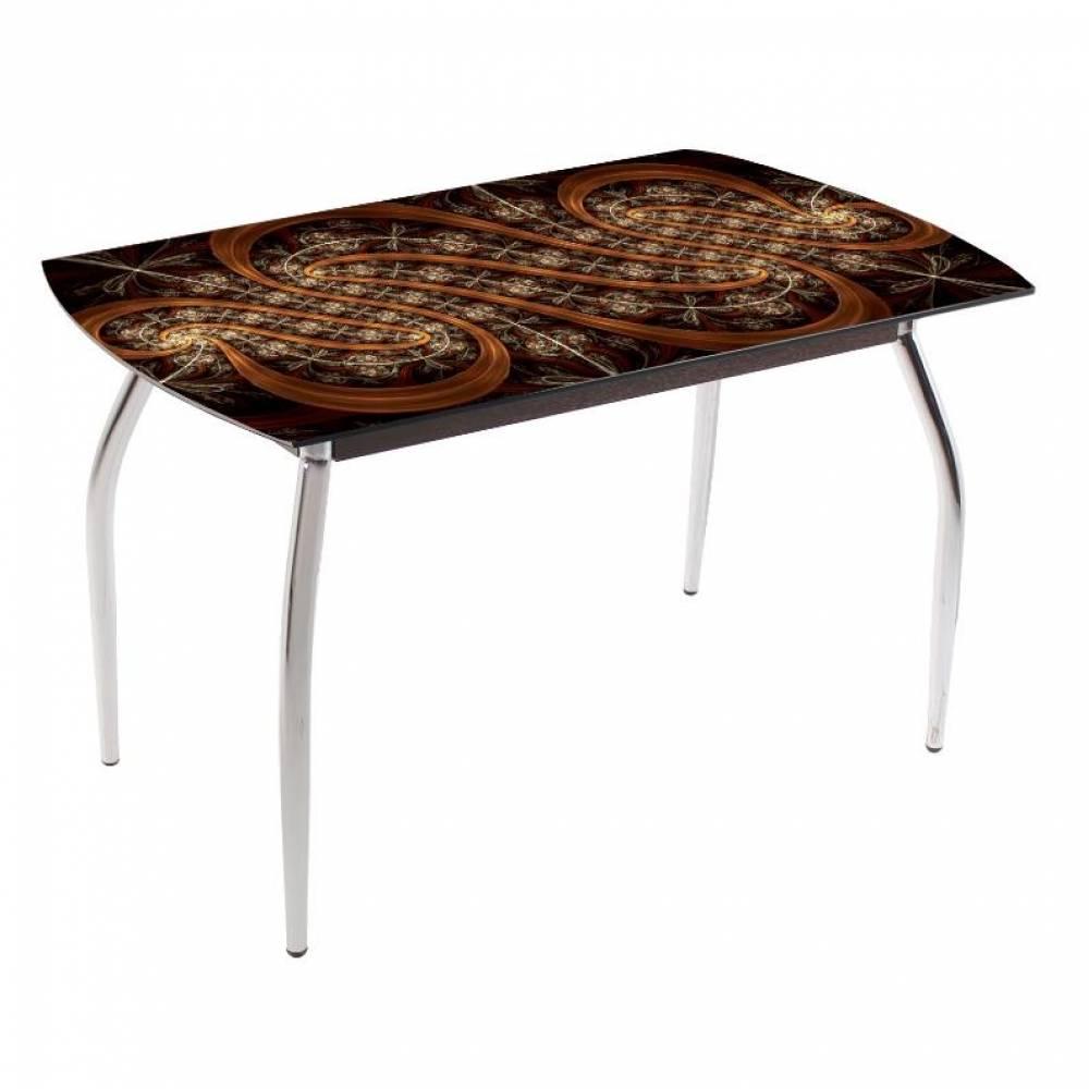 Стол обеденный 5.1 узор коричневый