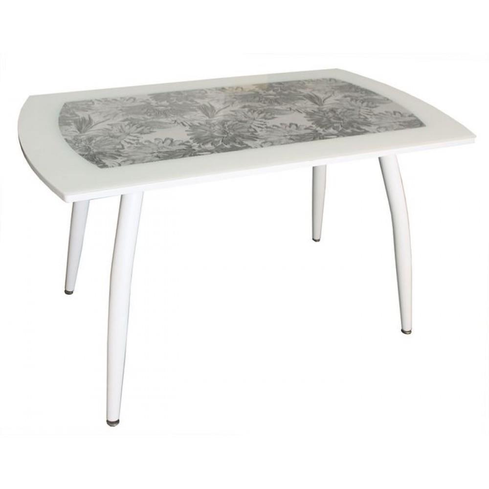 Стол обеденный 5.1 серый муар, герберы ТО436 белый муар