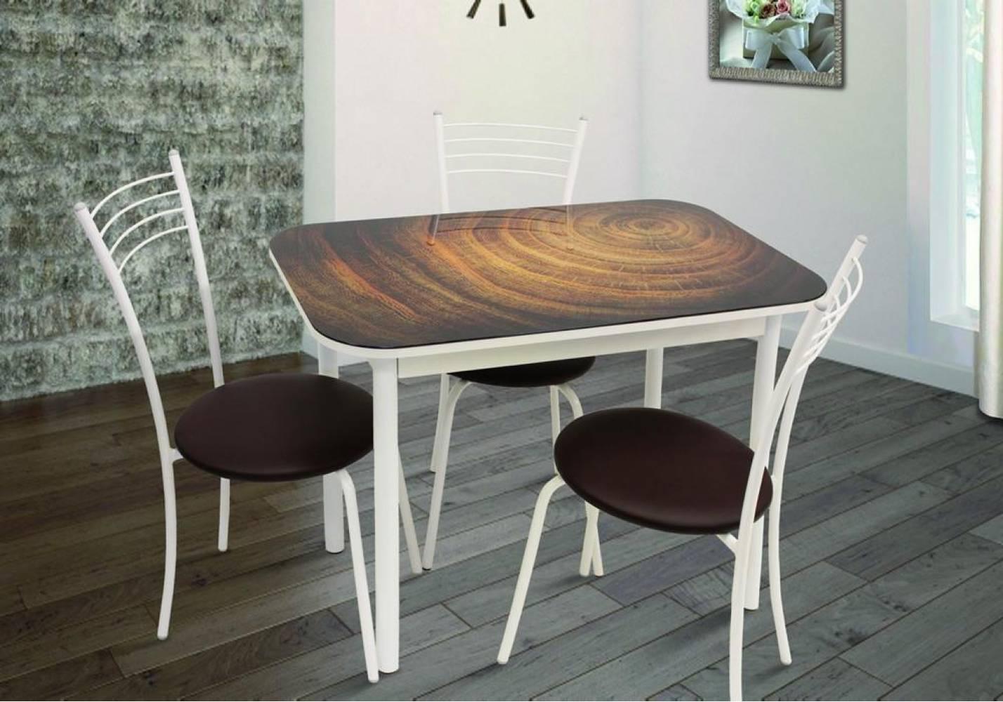 Стол обеденный СТИЛЬ 1 mini wood/д.40 белый муар