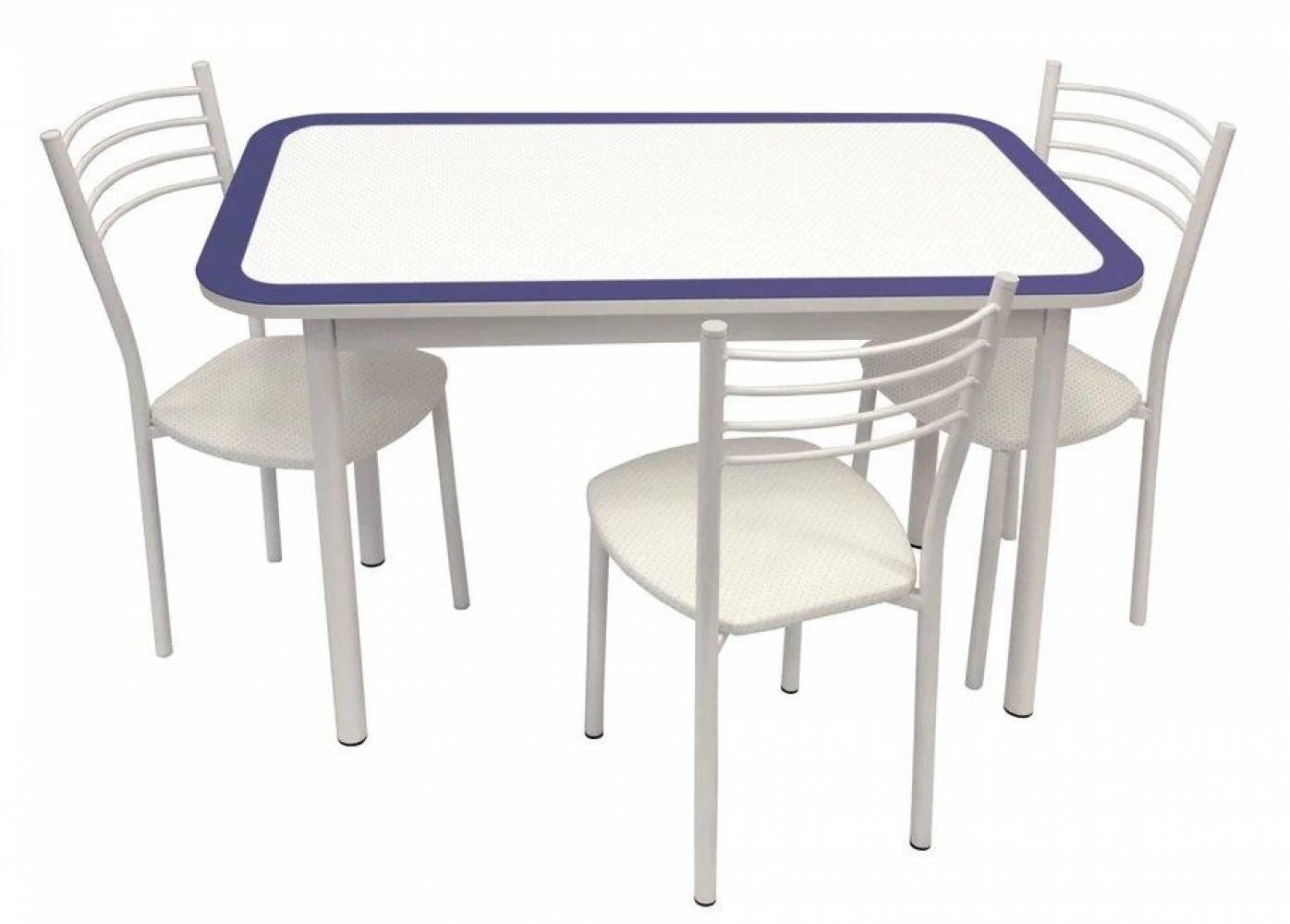 Стол обеденный СТИЛЬ 1 пунто темно-синий/белый муар д.40