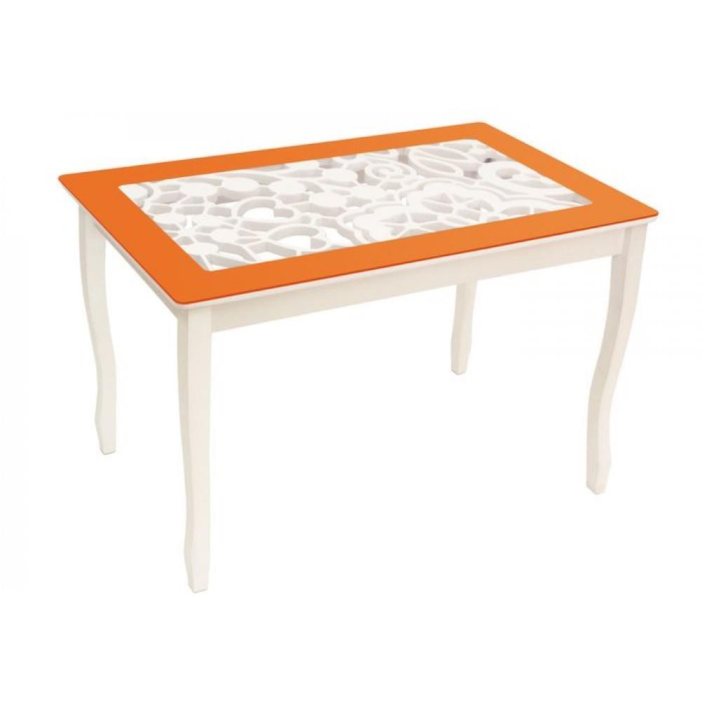 Стол обеденный СТИЛЬ 2 mini Ажур III оранжевый/триумф белый