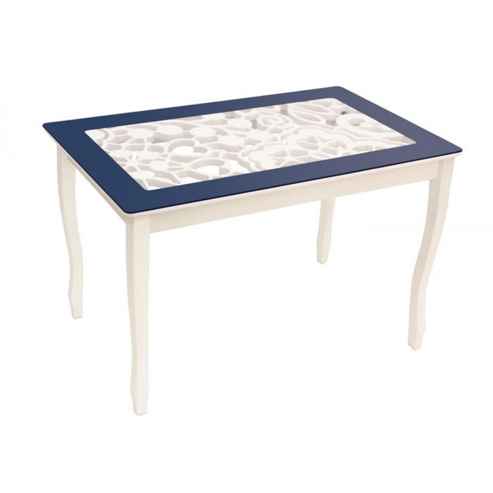 Стол обеденный СТИЛЬ 2 mini Ажур III темно-синий/триумф белый