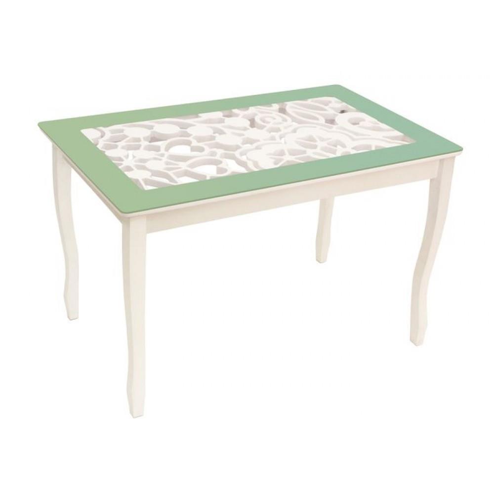 Стол обеденный СТИЛЬ 2 Ажур III оливковый/триумф белый