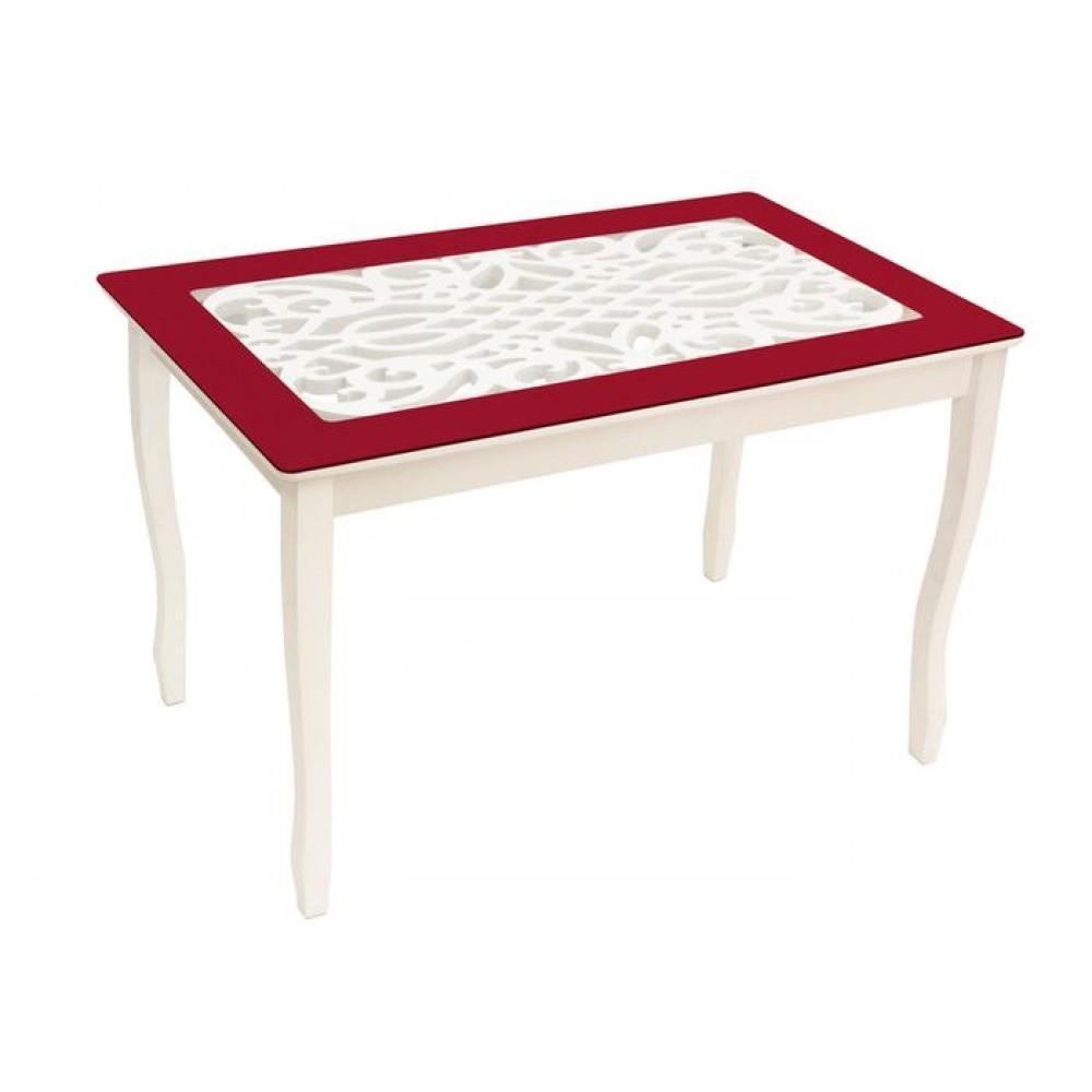 Стол обеденный СТИЛЬ 2 Ажур IV бордовый/триумф белый