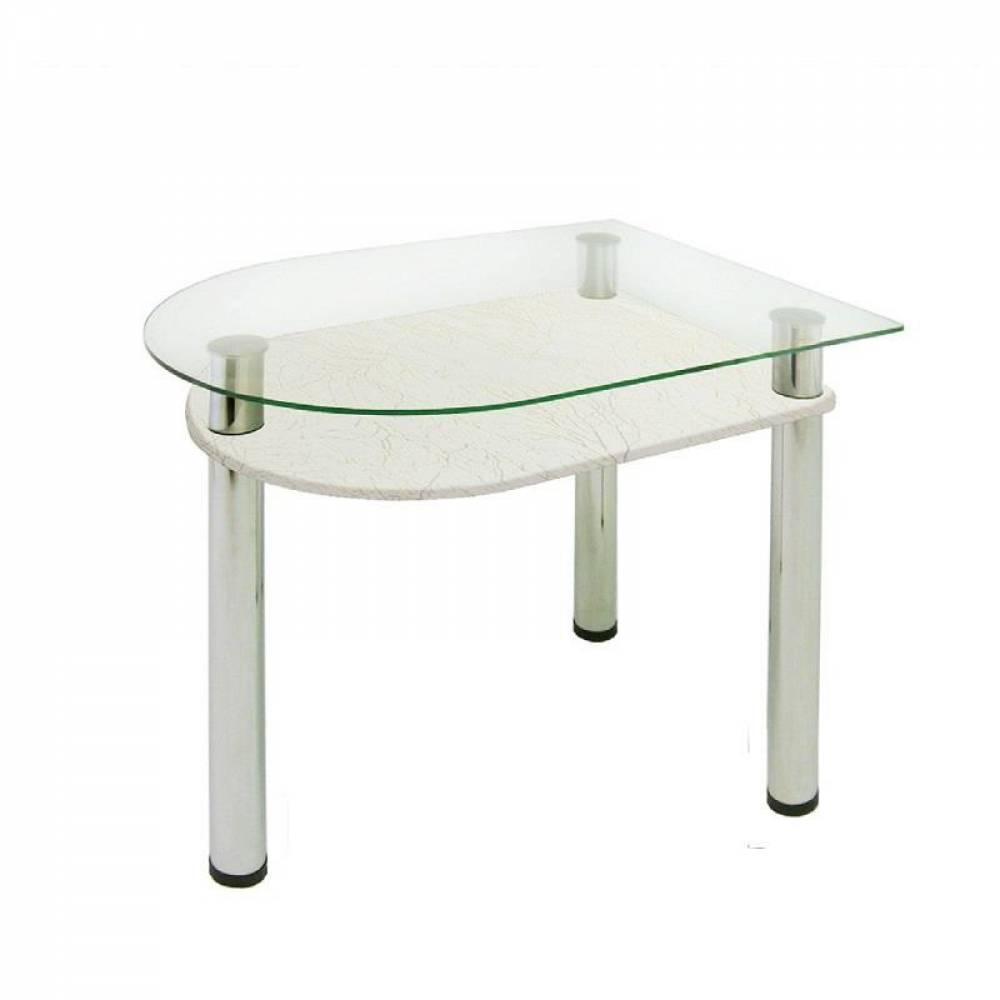 Стол обеденный с полкой МДФ 4.4 кристалл белый