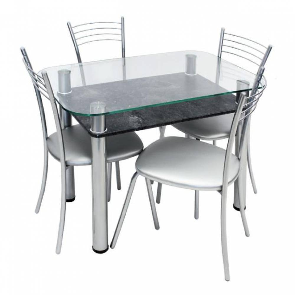 Обеденная группа, Стол 3.4 стоун грей/д60 хром лак + 4 стула Эконом МИС стальной