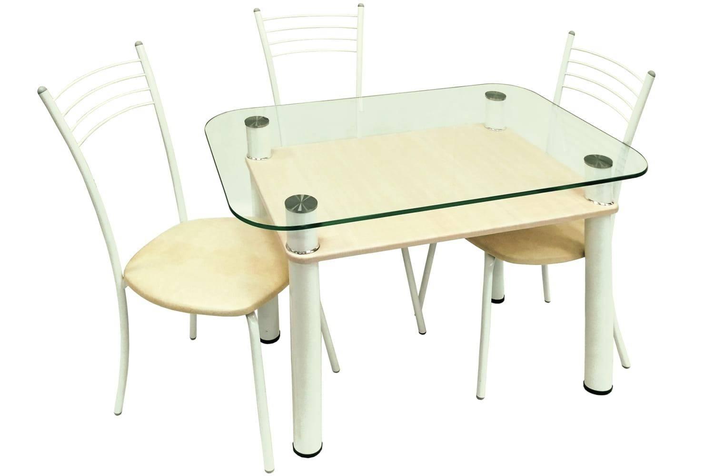 Обеденная группа, Стол 3.4 беленый дуб/д60 белый муар + 4 стула Эконом МИС белый муар/бежевый