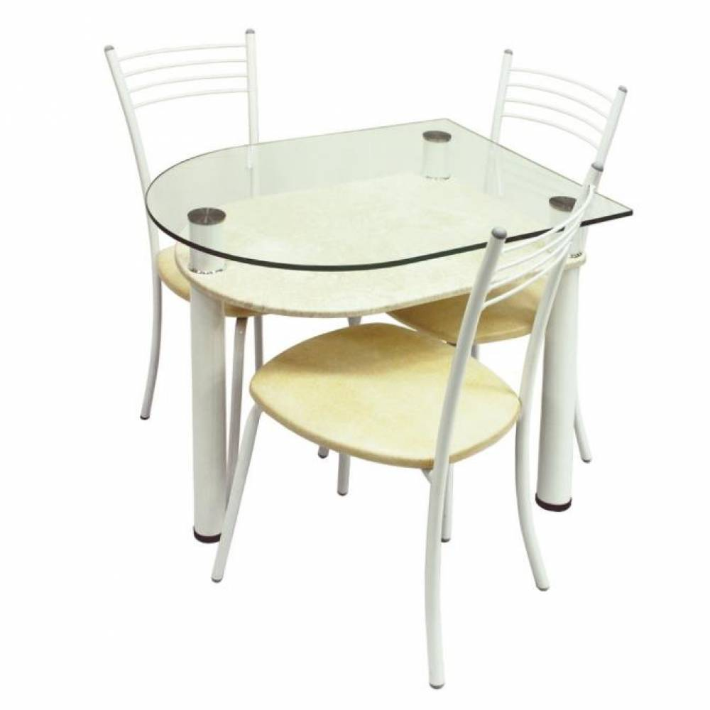 Обеденная группа, Стол 4.4 стоун крем/д60 белый муар + 3 стула Эконом МИС белый муар/ бежевый