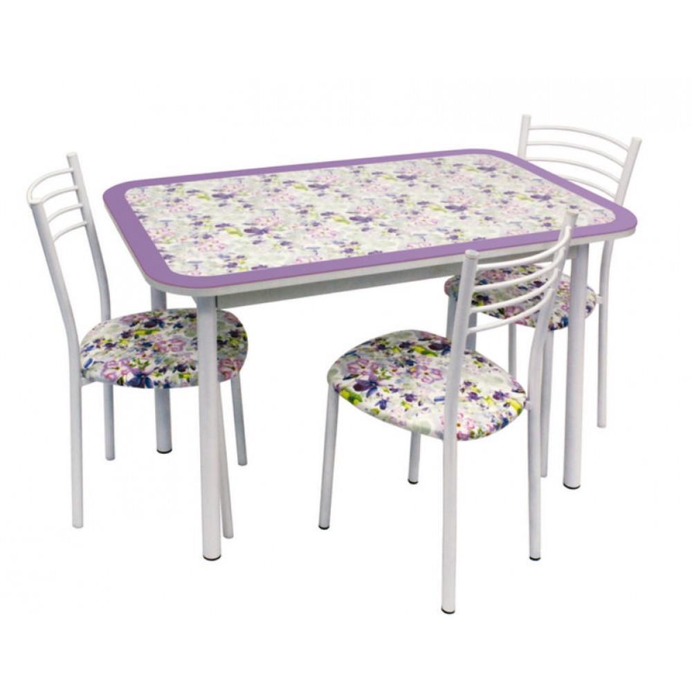 Обеденная группа, Стол Стиль 1 пунто фиолетовый/д.40 белый муар +  4 стула Тюльпан МИС белый муар/пунто сиреневый