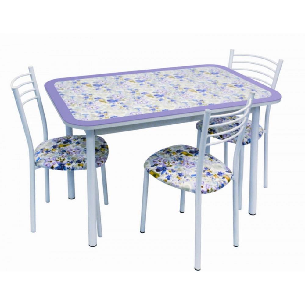 Обеденная группа, Стол Стиль 1 фиалка фиолетовый/д40 белый муар + 4 стула Тюльпан МИС белый муар/фиалка