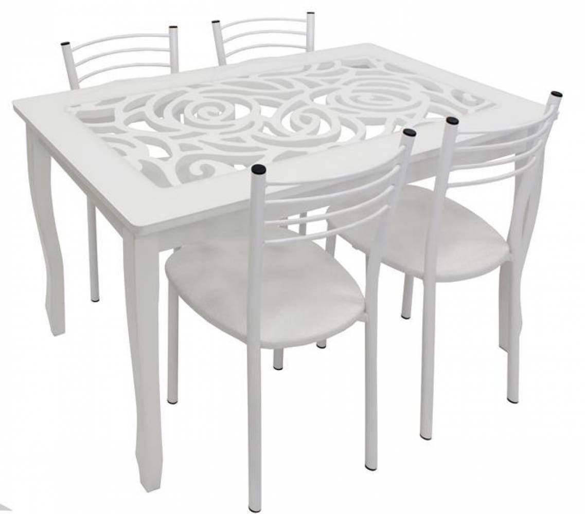 Обеденная группа, Стиль 2 Ажур/триумф белый + 4 стула F68 белый муар/пунто белый