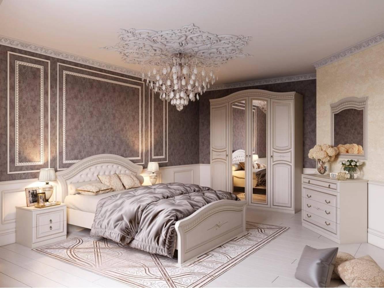 Спальня НИКОЛЬ (Ясень жемчужный/Ваниль) Мебельград