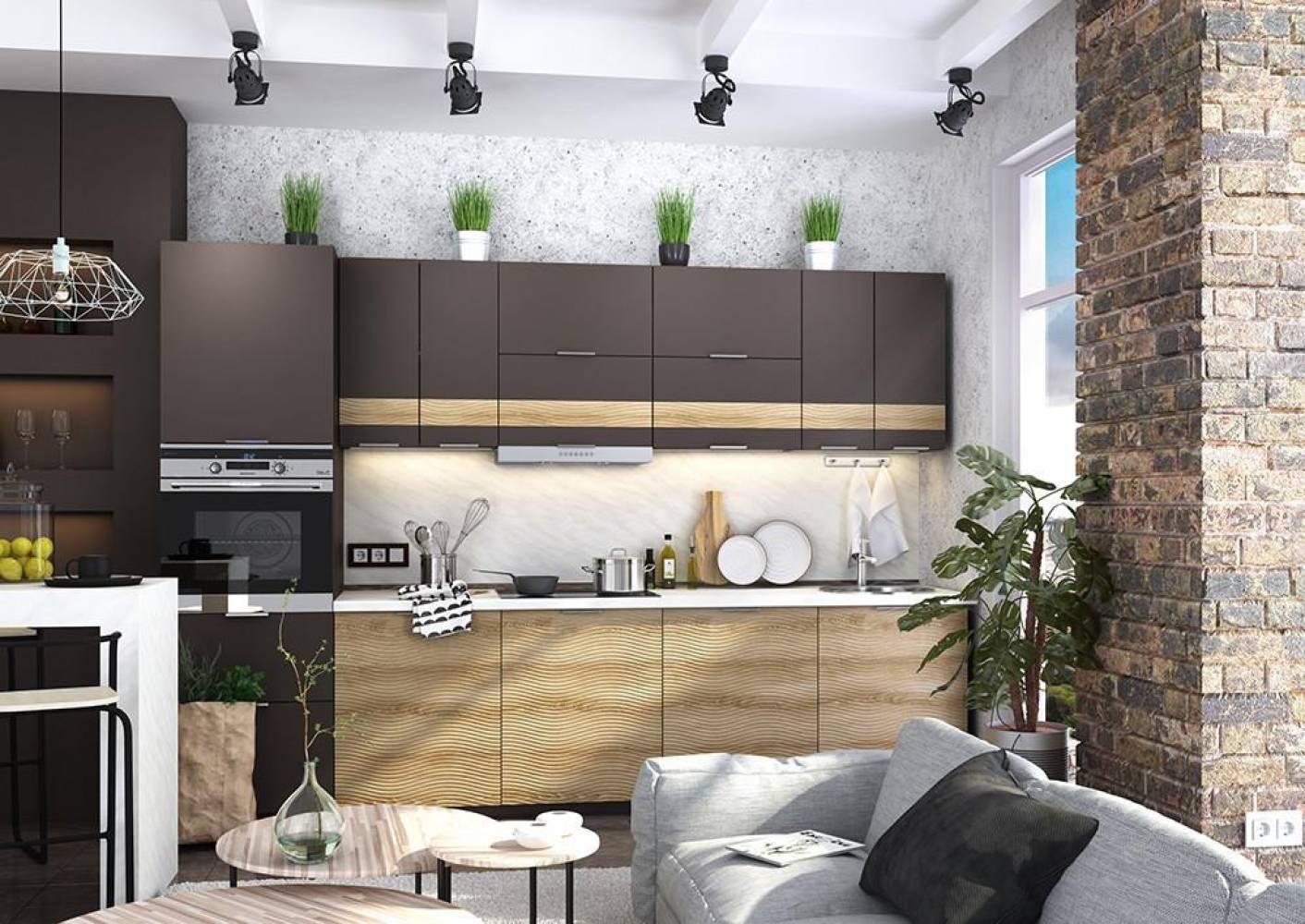 Кухня  ТЕРРА W (Венге) (2 цвета фасадов) Сурская мебель