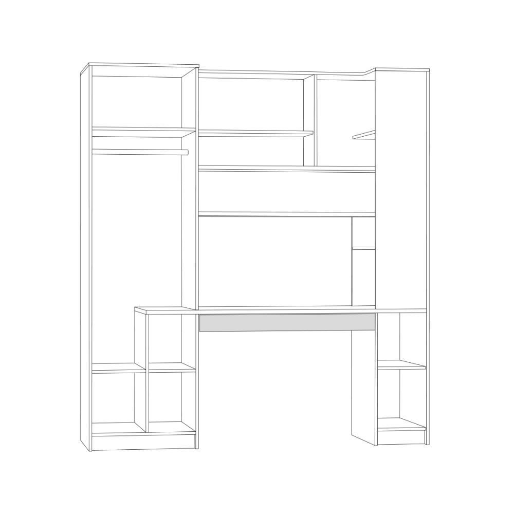 Стол с системой хранения 12.92 МИКС (Дуб Сонома/Белый шагрень) MOBI