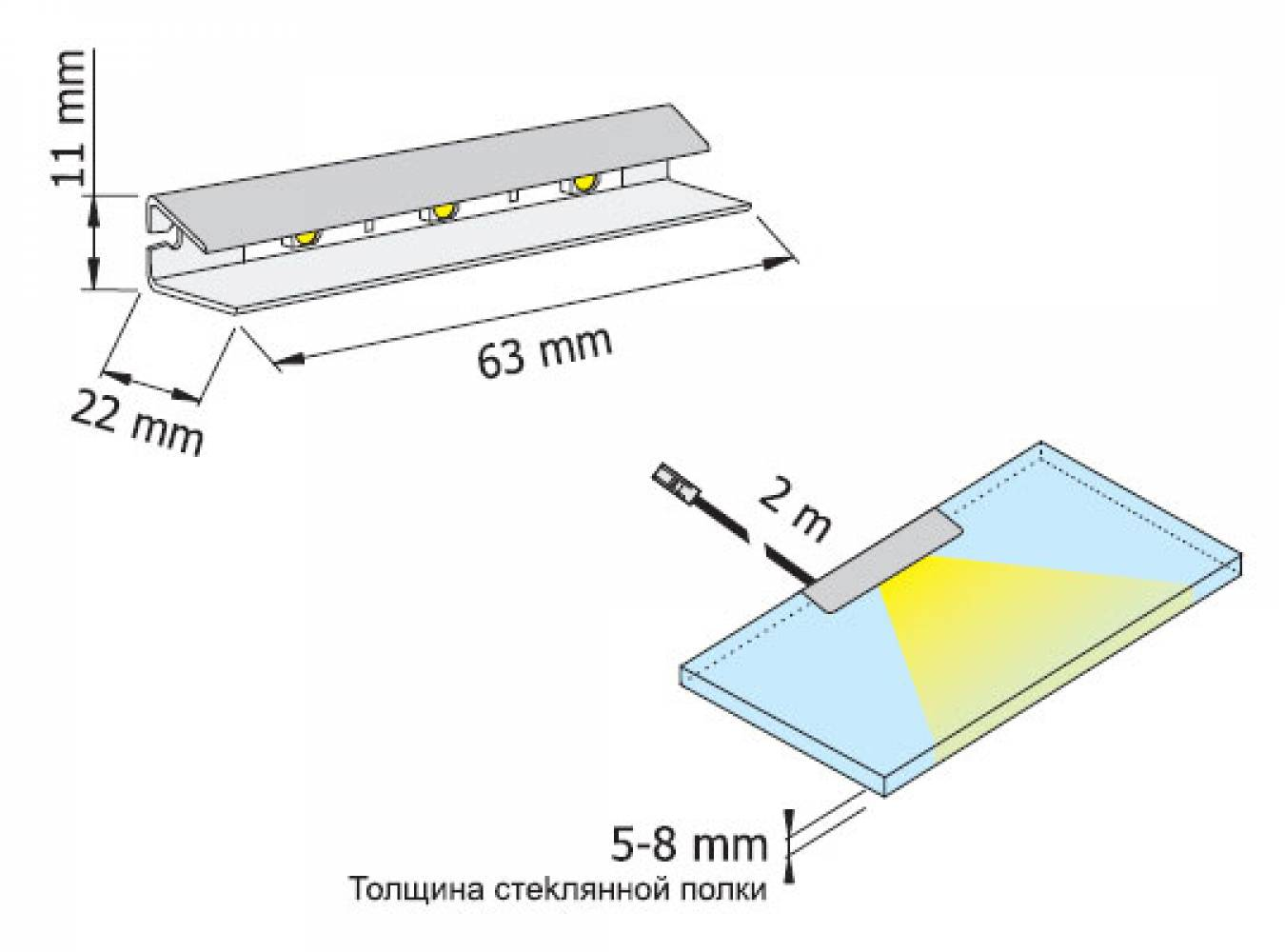 Светильник для полок HLT Prismatic FT