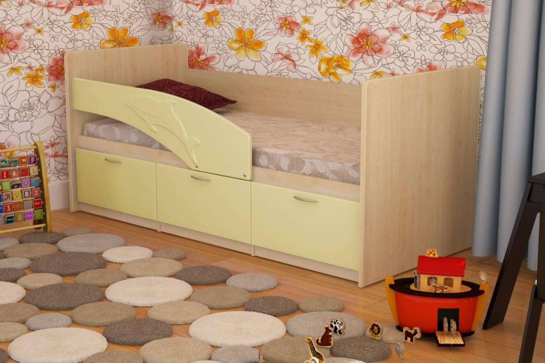 Кровать 800 ПВХ 1,6м ДЕЛЬФИН (ваниль матов) Миф