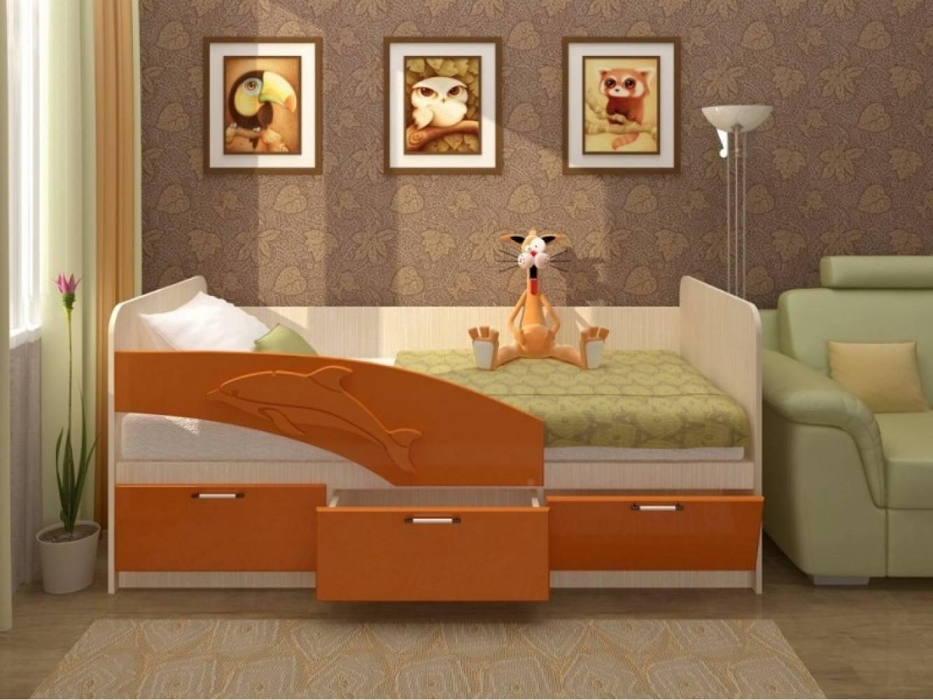 Кровать 800 ПВХ 2,0м ДЕЛЬФИН (оранж матов) Миф