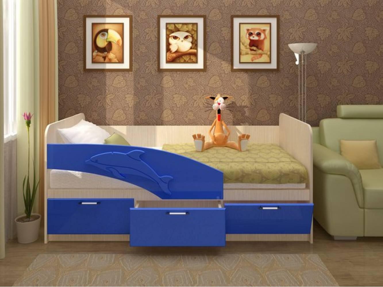 Кровать 800 ПВХ 2,0м ДЕЛЬФИН (синий  матов) Миф