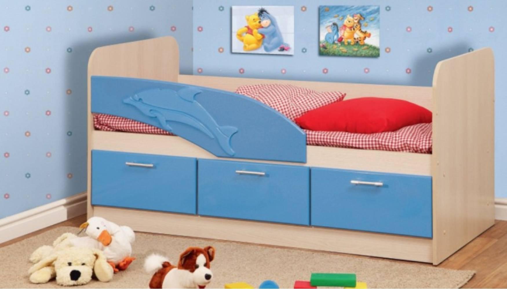 Кровать 800 ПВХ 1,8м ДЕЛЬФИН (голубой глян) Миф