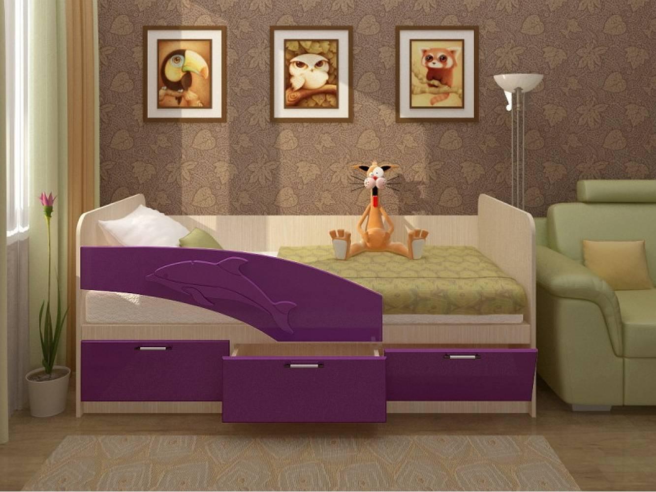 Кровать 800 ПВХ 1,8м ДЕЛЬФИН (фиолет глян) Миф