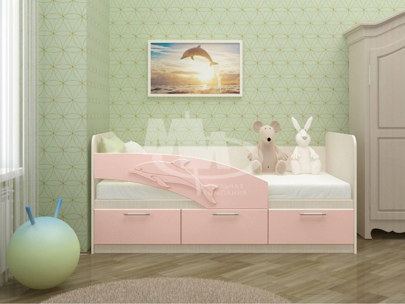 Кровать 800 ПВХ 1,6м ДЕЛЬФИН (розов металл) Миф