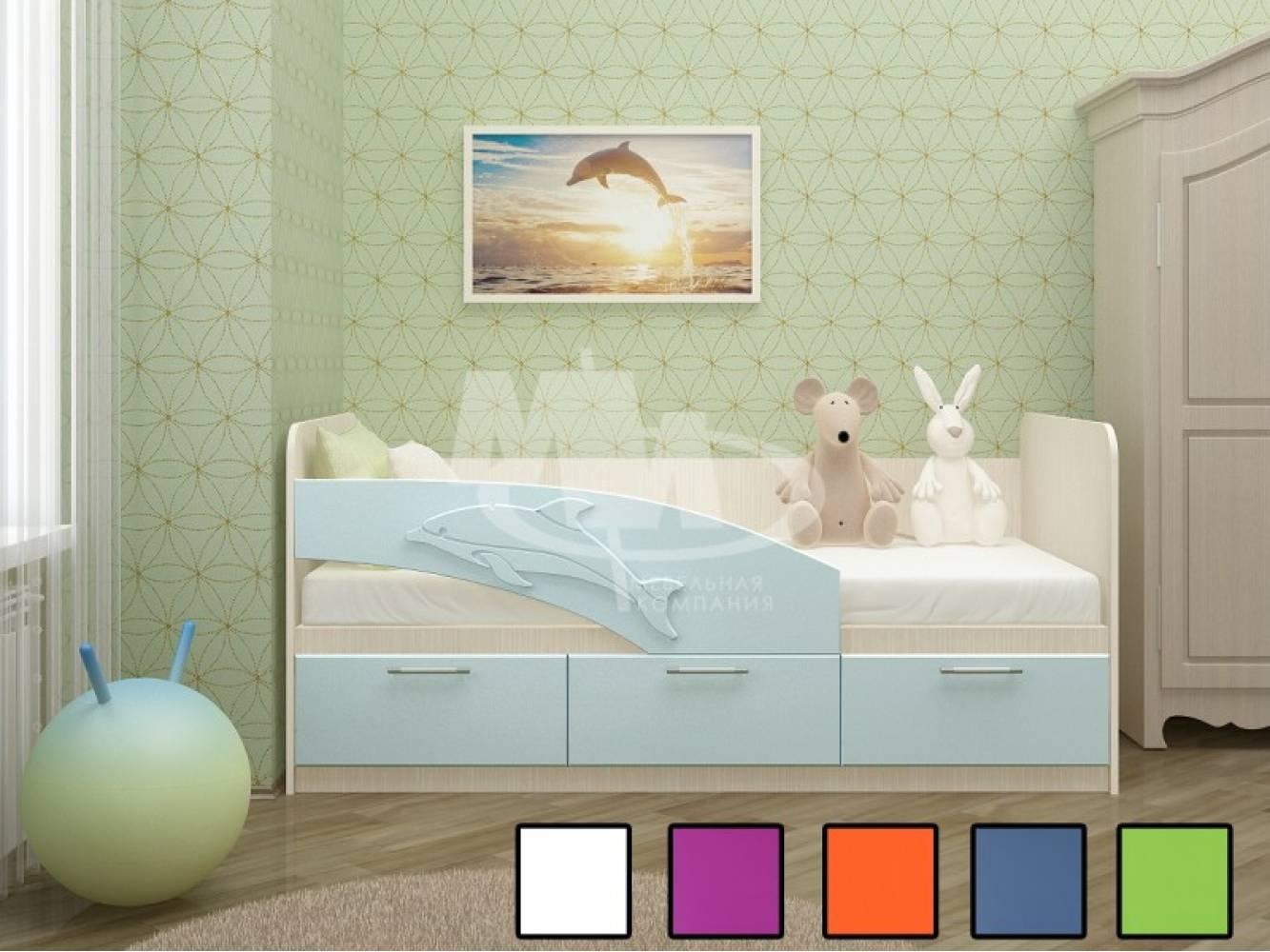 Кровать 800 ПВХ 1,6м ДЕЛЬФИН (белый матов) Миф