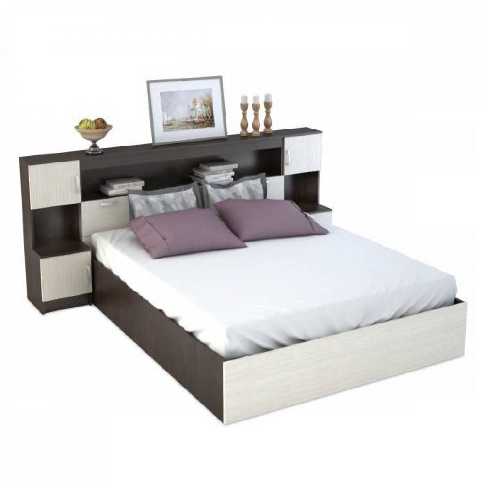 Кровать 1600 с закроватным модулем КР-552 БАСЯ (Венге/Дуб Белфорд)