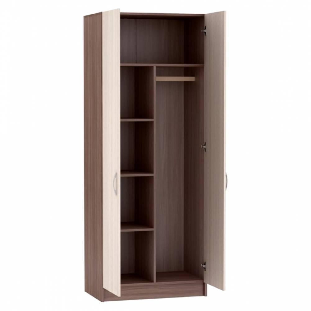 Шкаф 2-х створчатый с перегородкой ШК-553 БАСЯ (Ясень Шимо светлый/Ясень Шимо темный)