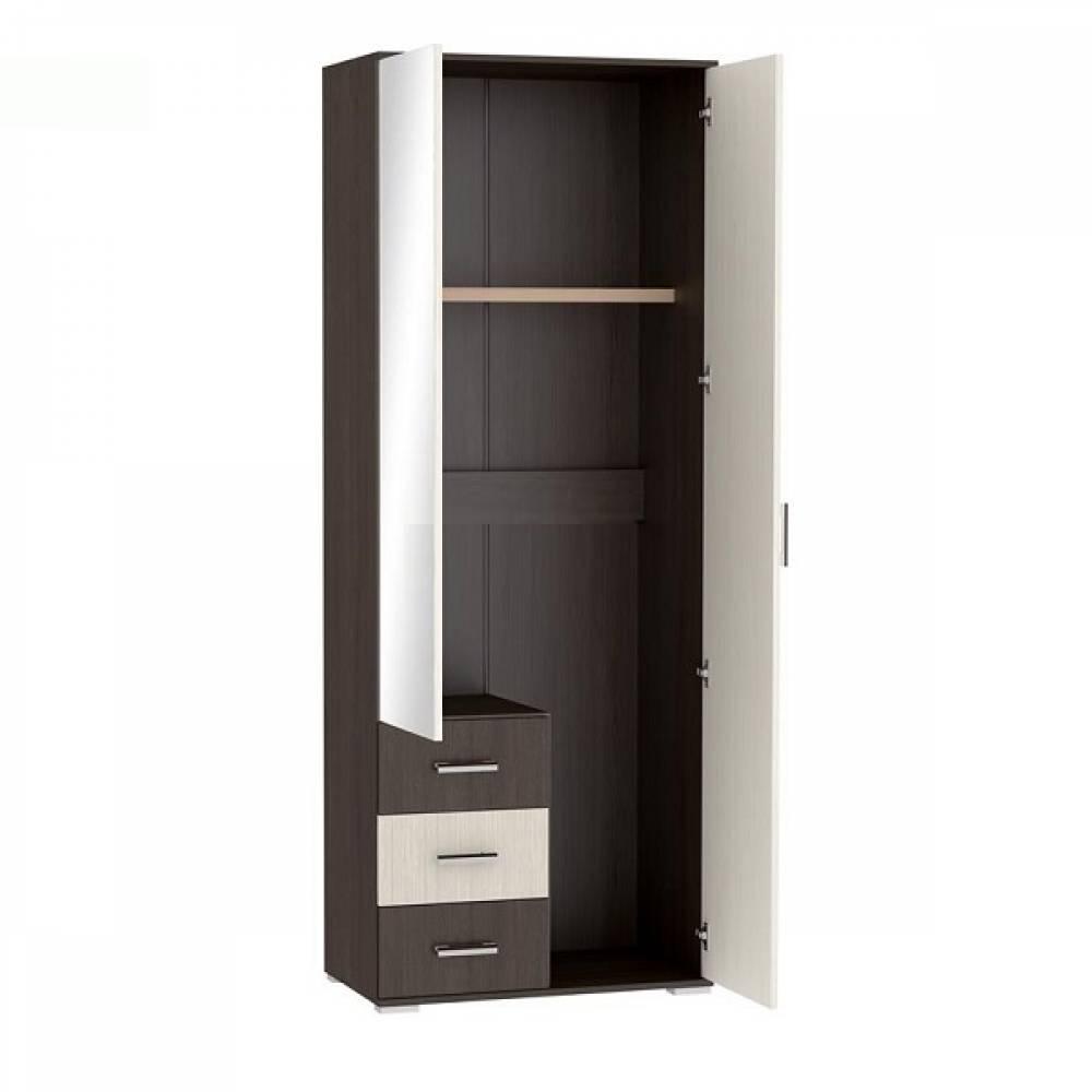 Шкаф 2-дверный платяной с ящиками ШК-802 РОШЕЛЬ (Ясень Шимо светлый/Ясень Шимо темный)