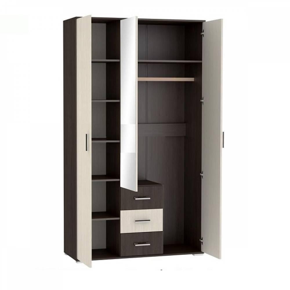 Шкаф 3-дверный с ящиками ШК-803 РОШЕЛЬ (Ясень Шимо светлый/Ясень Шимо темный)