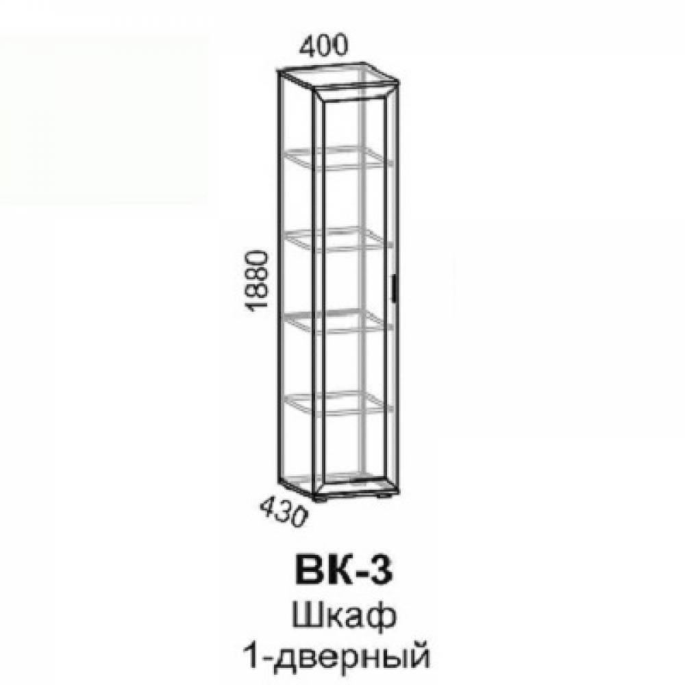 Шкаф 1-дверный ВК-3 ВИКА (Венге/Дуб Молочный) Восход