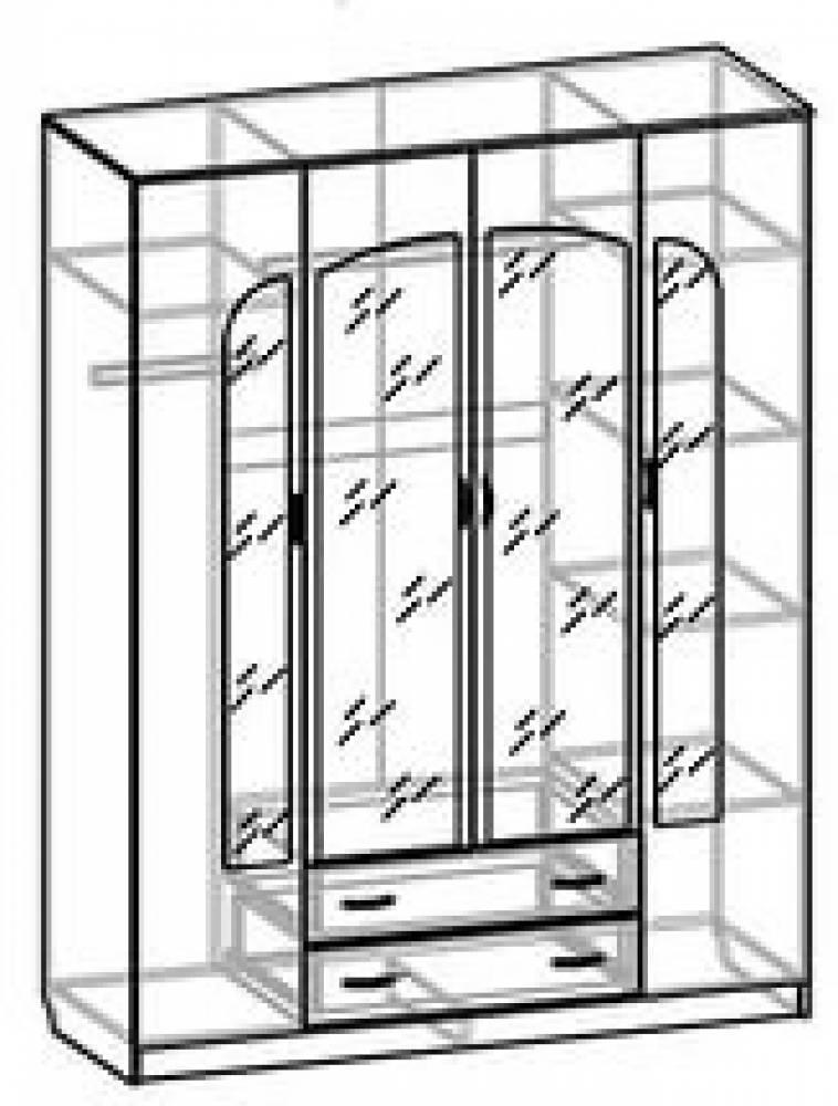 Шкаф 4-дверный с ящиками СВ-42 СВЕТЛАНА ЛДСП
