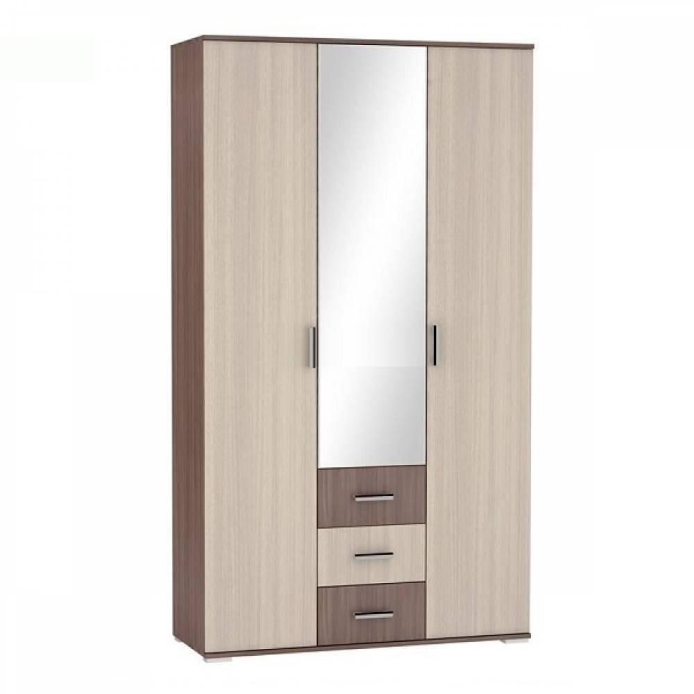 Шкаф 3-дверный платяной с ящиками ШК-813 РОШЕЛЬ (Ясень Шимо темный/Ясень Шимо светлый)