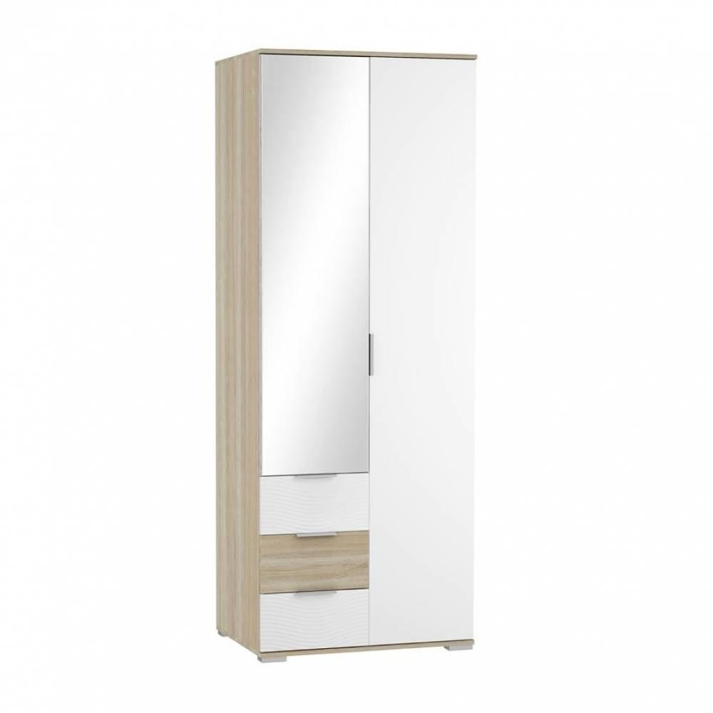 Шкаф 2-дверный с ящиками ШК-822 ТЕРРА (Дуб Сонома/Белый)