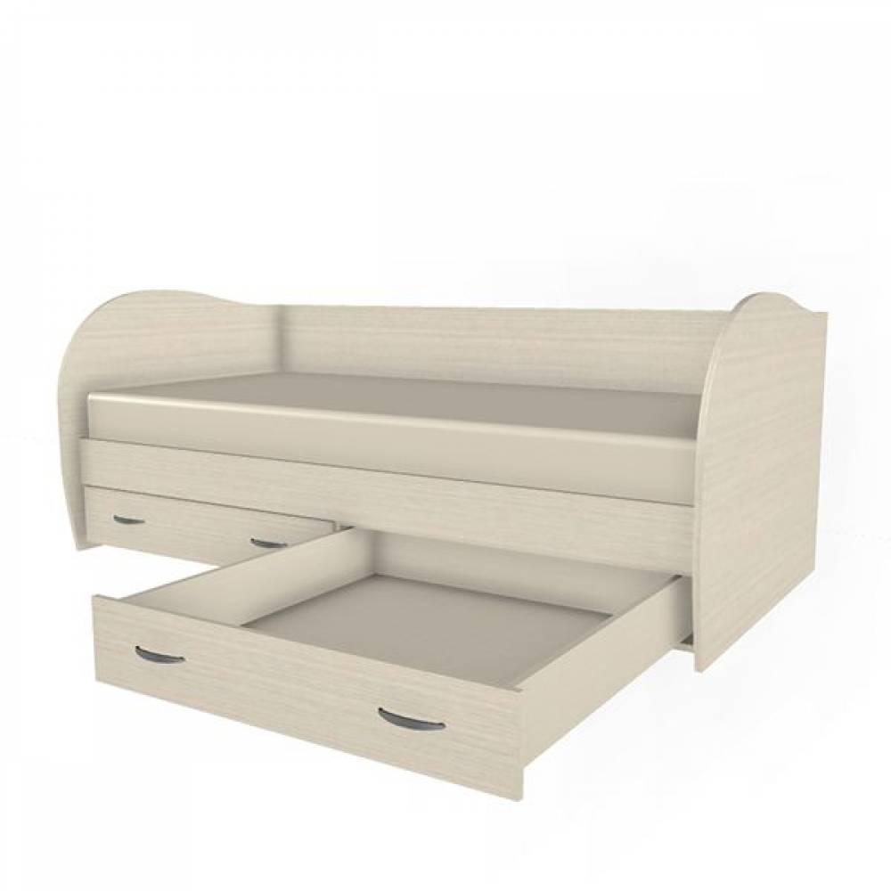 Кровать 900 КР-113 КСЮША (Дуб Беленый с розовыми вставками)