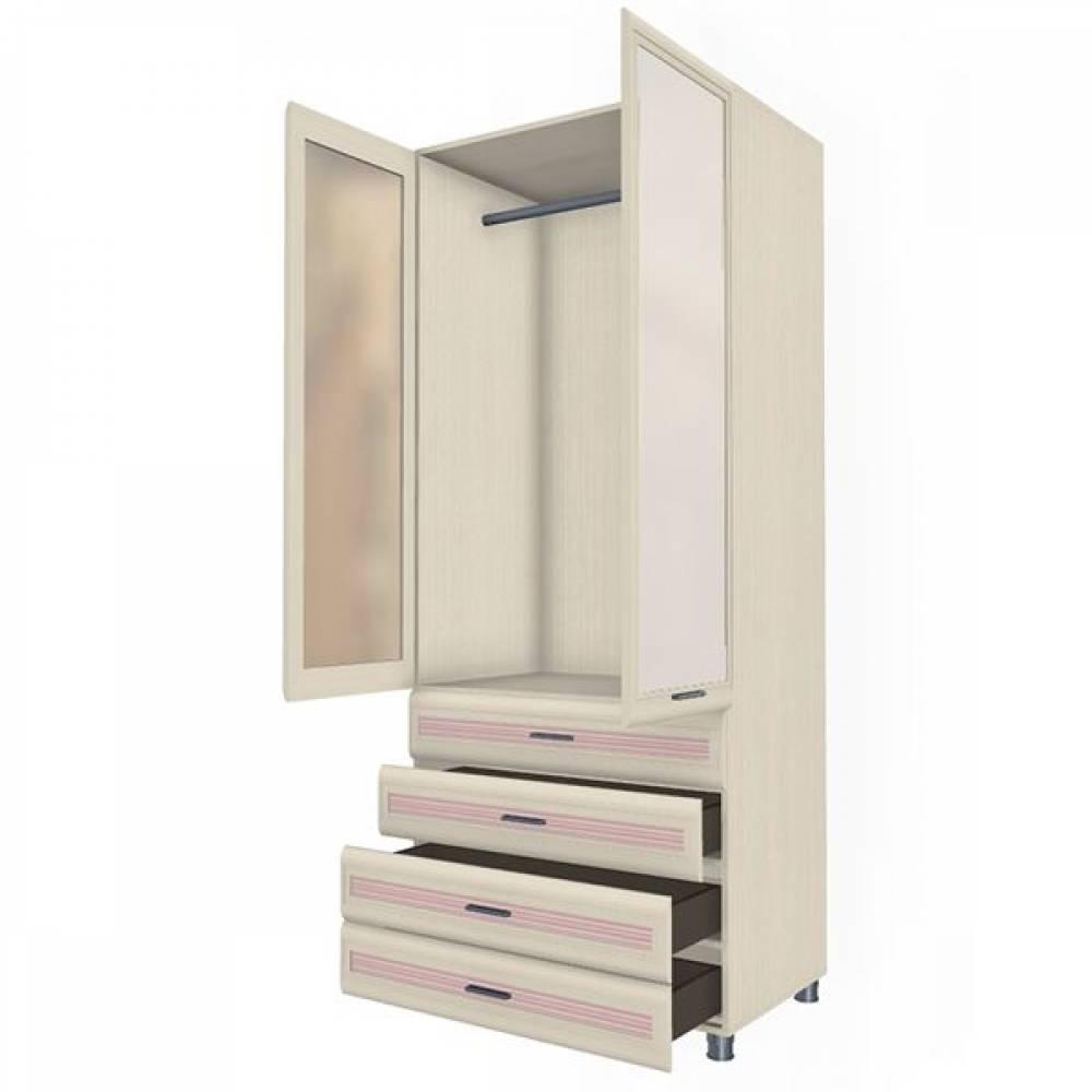 Шкаф многоцелевой ШК-1845 КСЮША (Дуб Беленый с розовыми вставками)