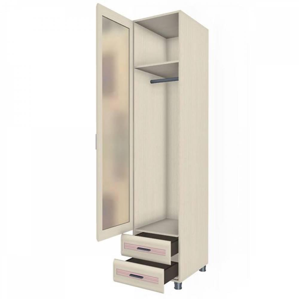 Шкаф многоцелевой ШК-1848 КСЮША (Дуб Беленый с розовыми вставками)