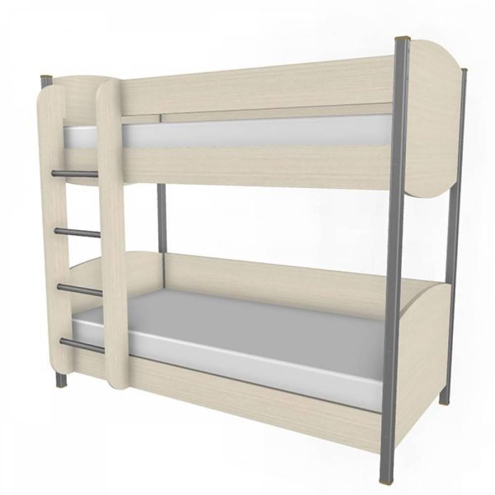 Кровать двухъярусная 900 КР-123 КСЮША (Дуб Беленый с сиреневыми вставками)