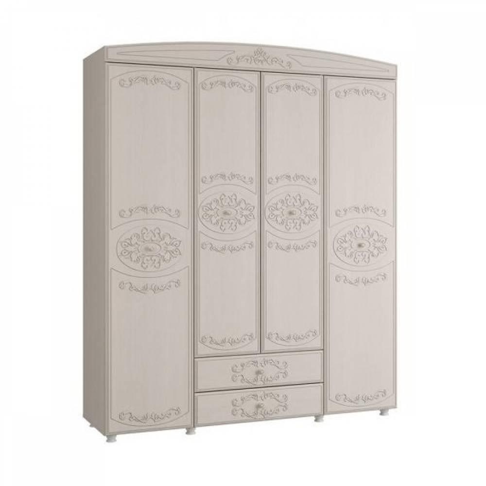 Шкаф 4-х дверный комбинированный КАРОЛИНА (Вудлайн кремовый/Сандал белый)