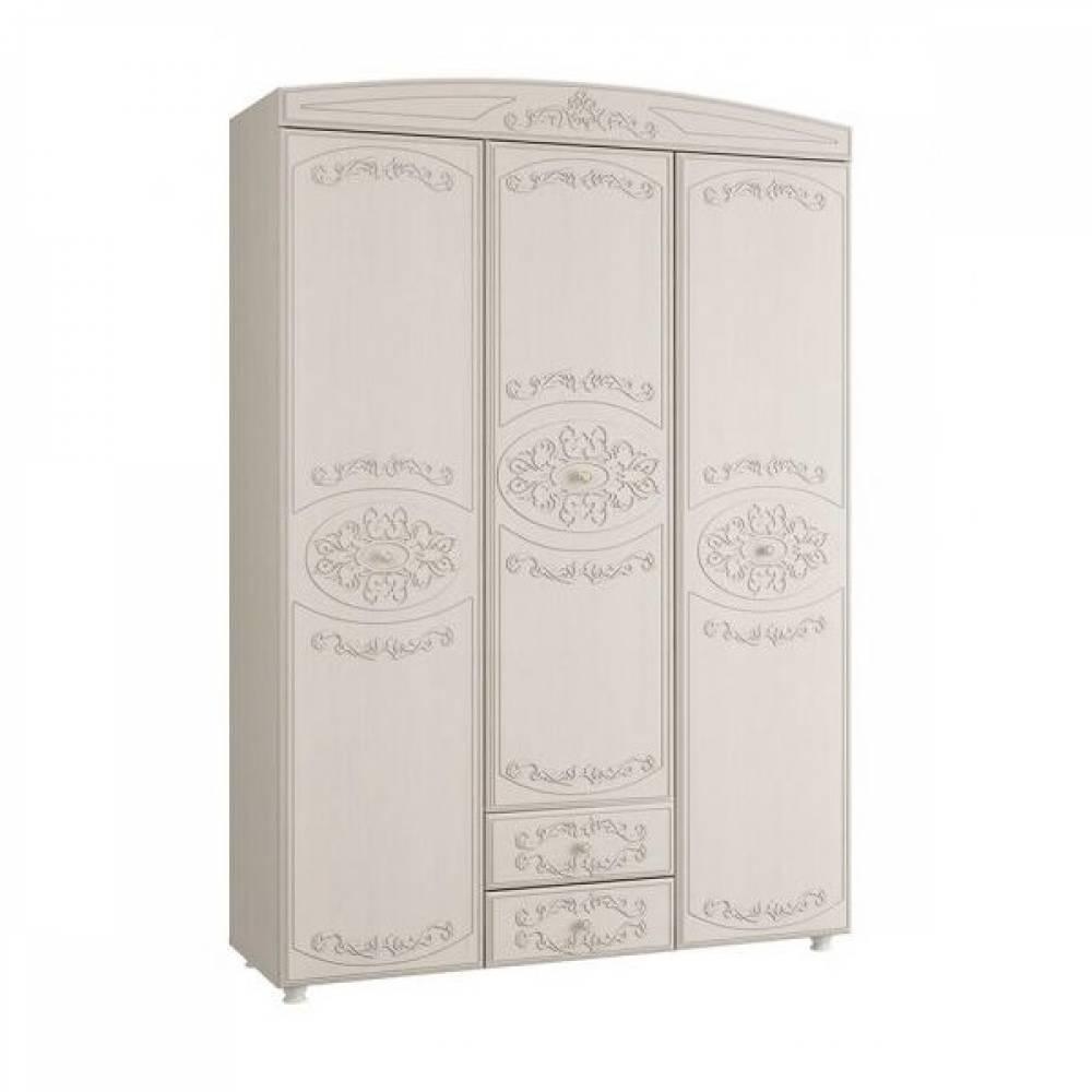 Шкаф 3-х дверный комбинированный КАРОЛИНА (Вудлайн кремовый/Сандал белый)