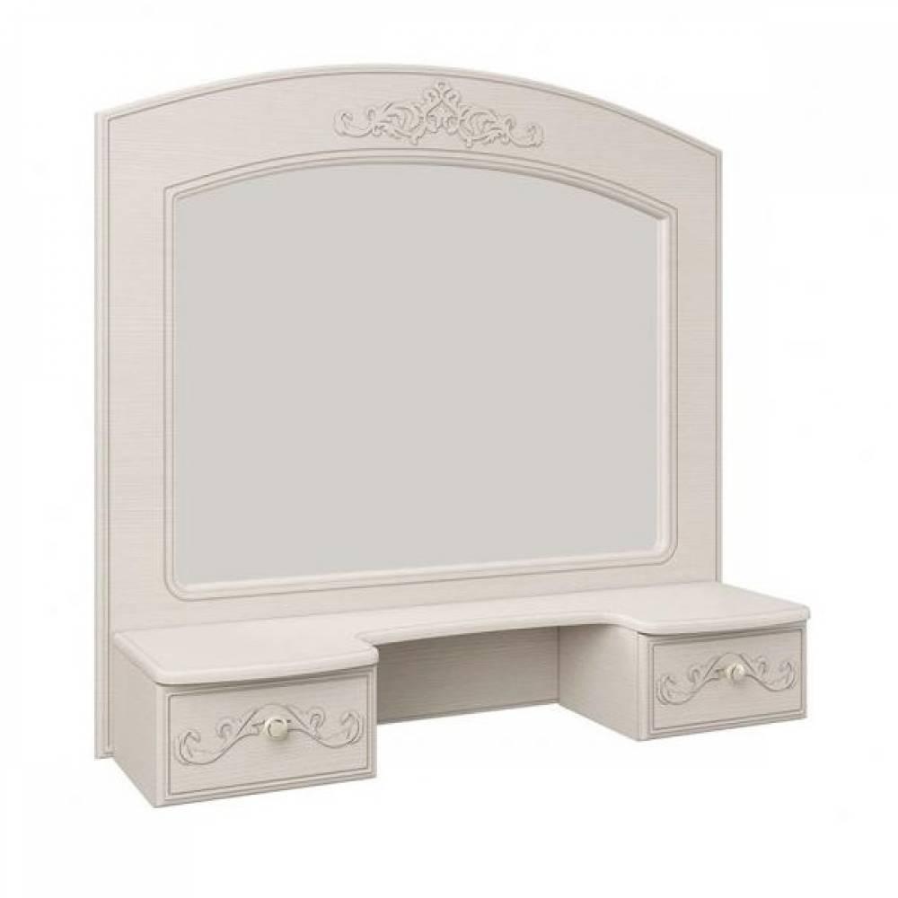 Полка с зеркалом КАРОЛИНА (Вудлайн кремовый/Сандал белый)
