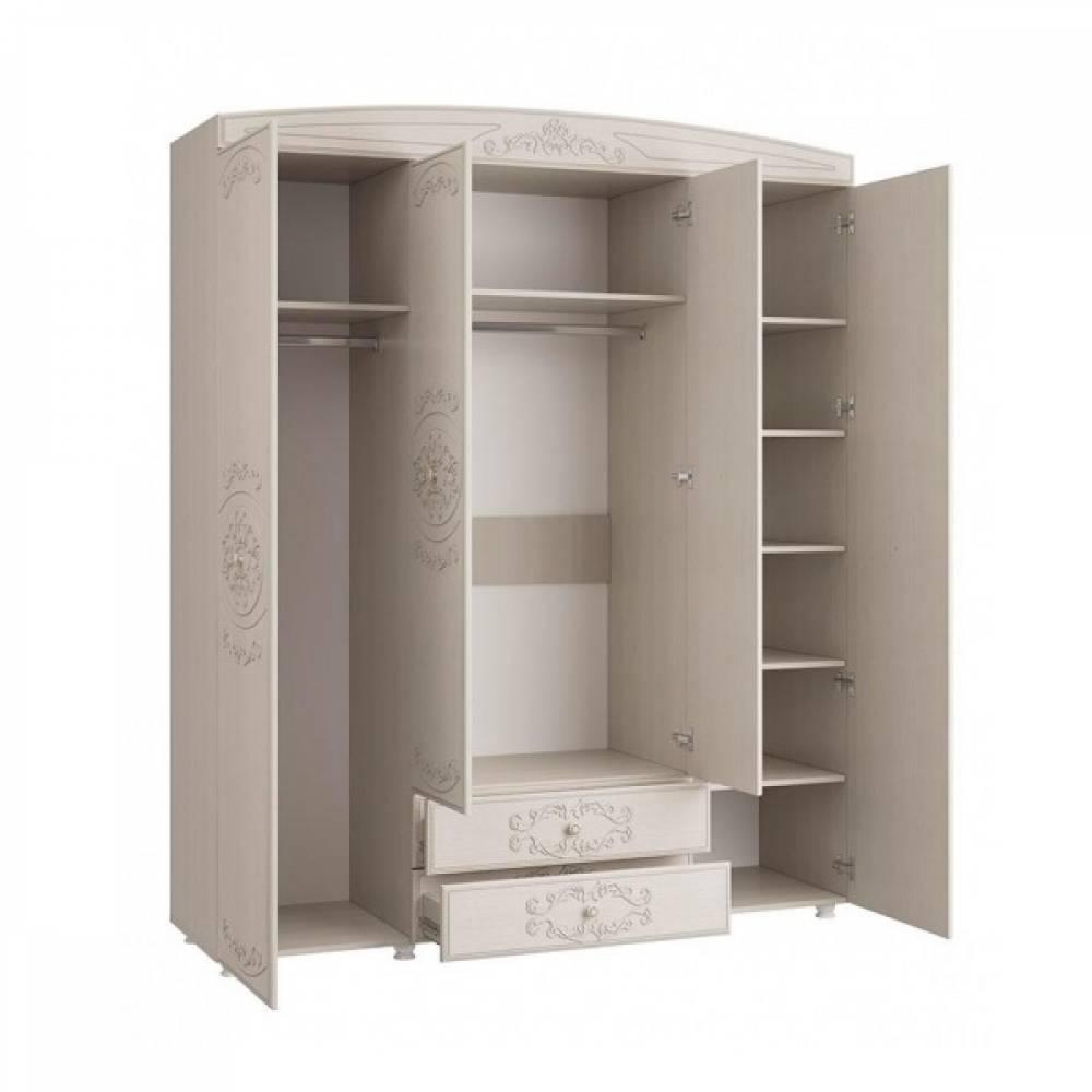 Шкаф 4-х дверный комбинированный с зеркалом КАРОЛИНА (Вудлайн кремовый/Сандал белый)
