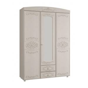 Шкаф 3-х дверный комбинированный с зеркалом КАРОЛИНА (Вудлайн кремовый/Сандал белый)