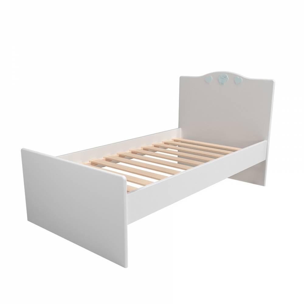 Кровать 800 НМ 041.07 ЛИЛУ (Белый/Голубой)