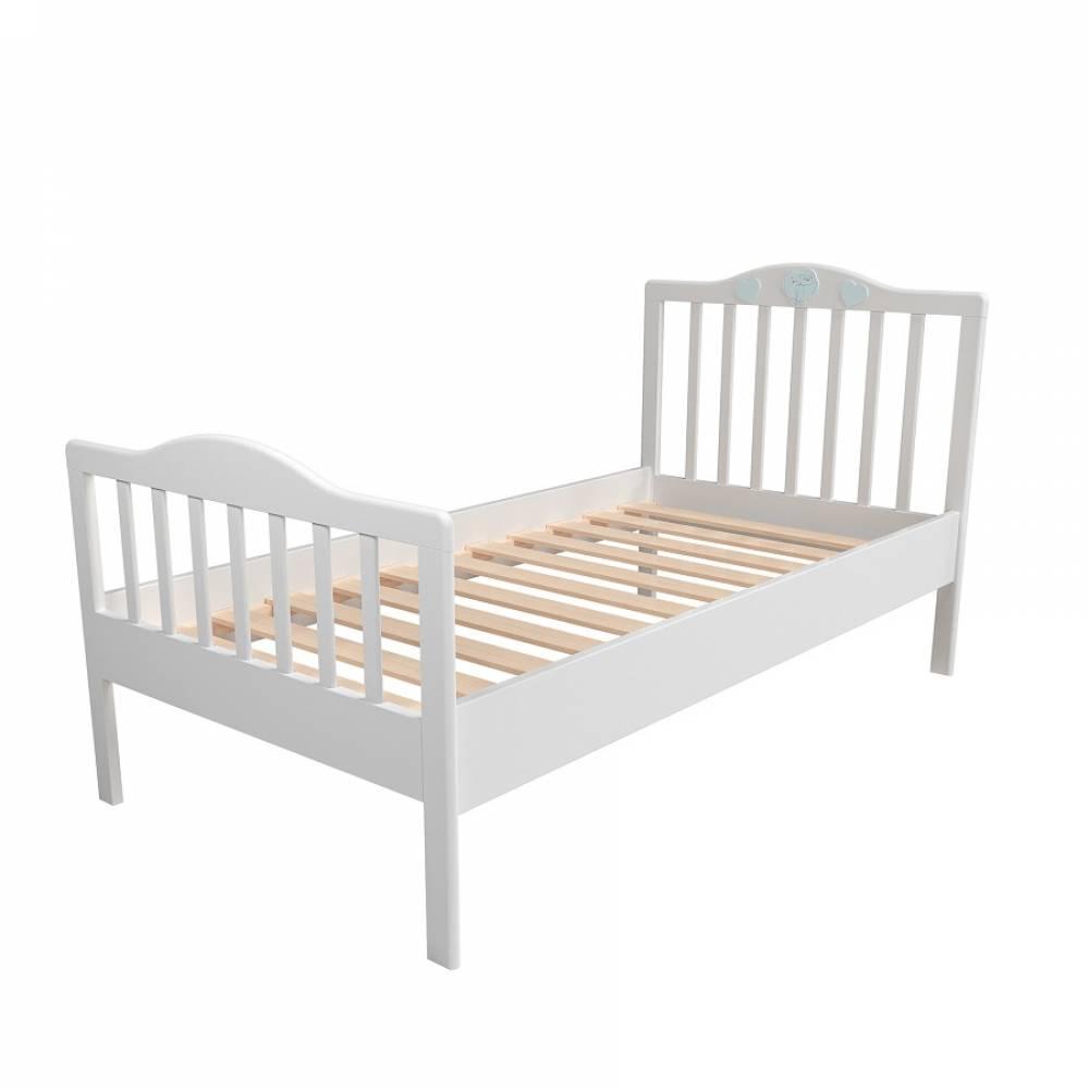 Кровать 800 НМ 041.06 ЛИЛУ (Белый/Голубой)