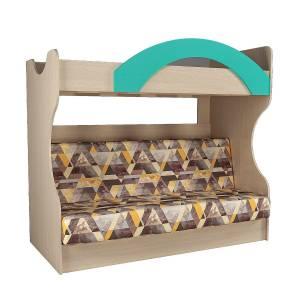 Кровать двухъярусная с диваном НМ 037.43 РИКО (Аква)