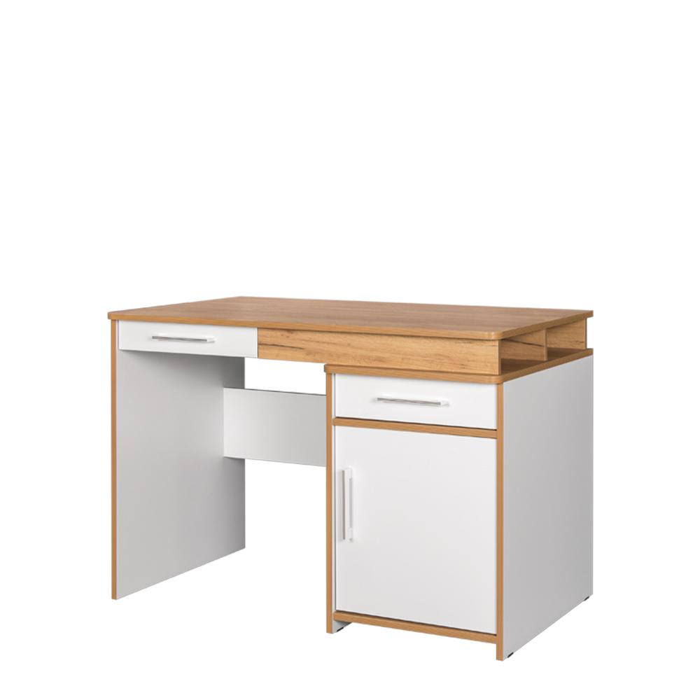 Стол письменный 12.25 ВУДИ (Белый премиум/Дуб Крафт золотой)